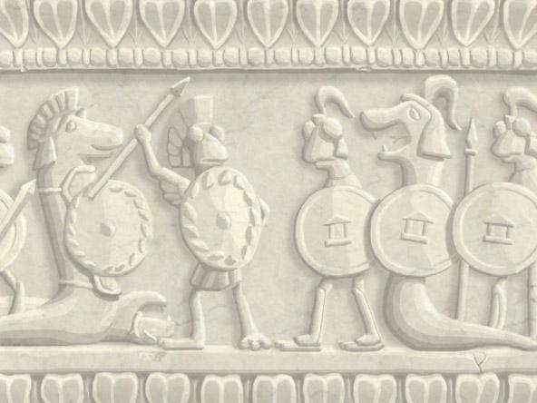 Broken Blueprint Roman relief background art 1