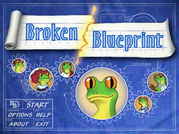 Broken Blueprint title screen